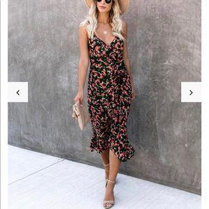 VICI teacup floral ruffle midi dress